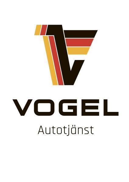 Logotype, Vogel Autotjänst, framtagen av Primaform Produktion AB, Södermalm, Stockholm